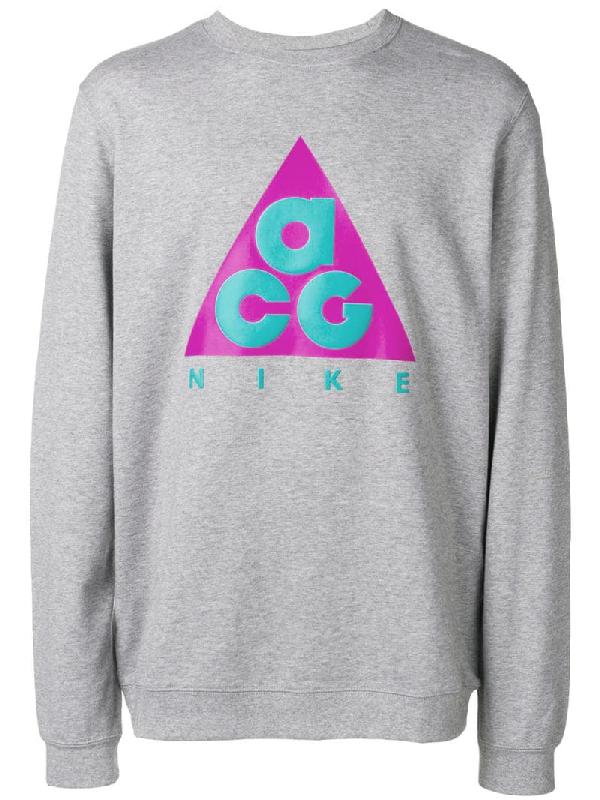 59ecb5753 Nike Acg Nsw Logo-Print Loopback Cotton-Jersey Sweatshirt In Grey ...