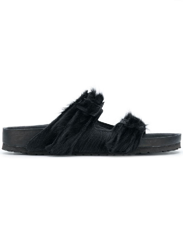 1cd03d1c123b Rick Owens Arizona Cow Hair-On-Hide Double Buckle Sandals In Black ...