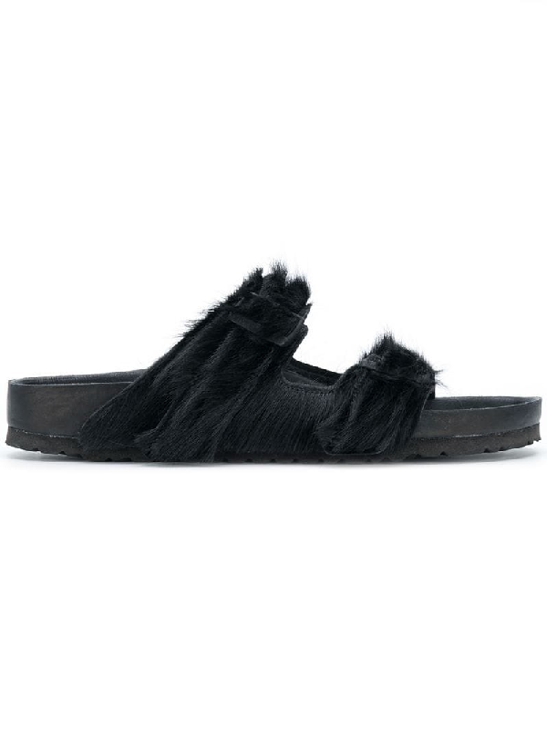 ddee07aca4 Rick Owens Arizona Cow Hair-On-Hide Double Buckle Sandals In Black ...