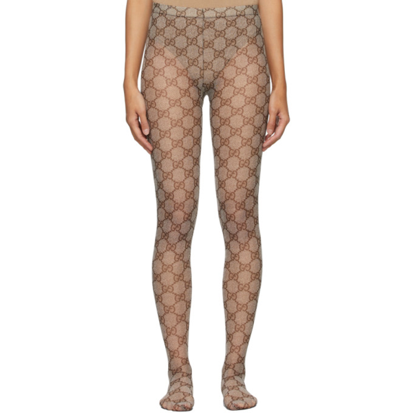 Gucci Gg Patterned Tights In Brown