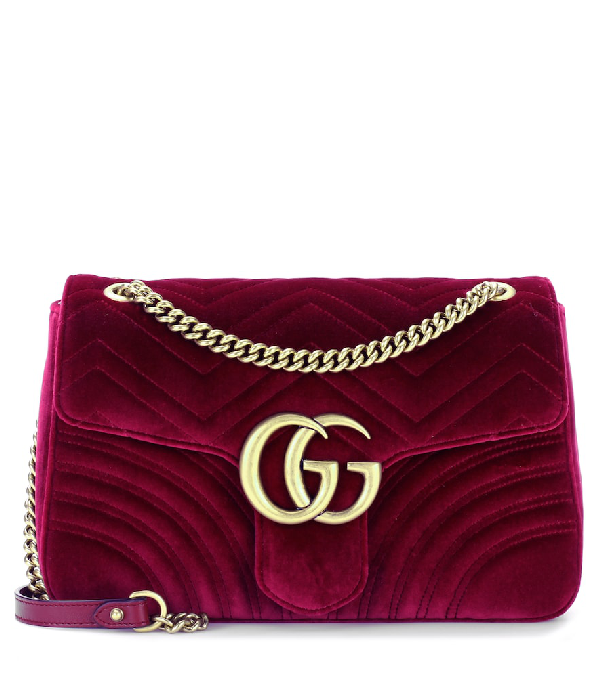 Gucci Gg Marmont Medium Shoulder Bag In Pink & Purple