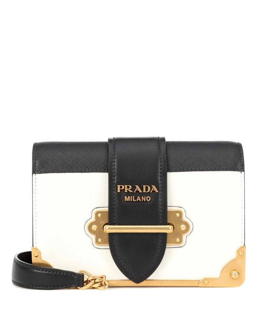 140327695c24 Prada Cahier Mini Leather Cross-Body Bag In White Black | ModeSens