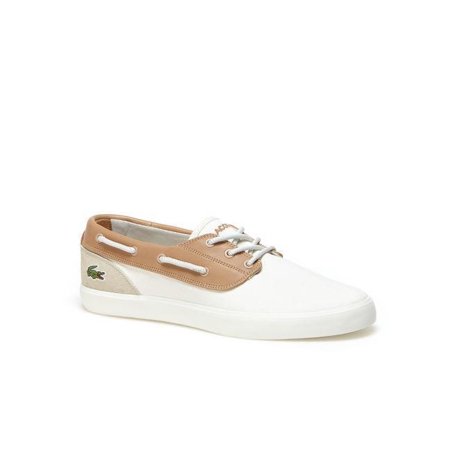 ed32eba27 Lacoste Men S Jouer Deck Canvas Boat Shoes In Off White