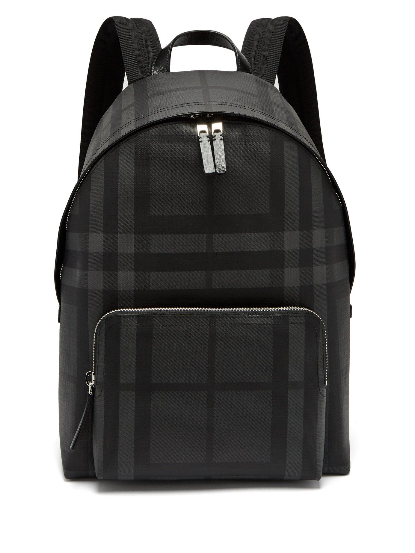 777f011b445a Burberry London-Check Pvc Backpack In Black Grey