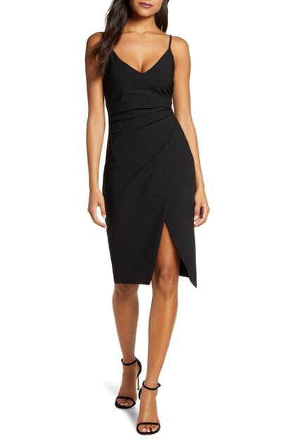 Black Halo Bowery Sleeveless Sheath Dress W/ Side Ruching In Black