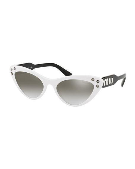 615da0726a MIU MIU. Women s Embellished Mirrored Gradient Cat Eye Sunglasses ...