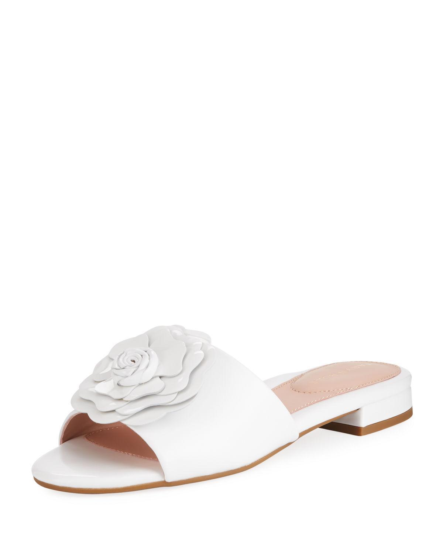 a0a11002b8075 Taryn Rose Violet Floral Patent Slide Sandal In White