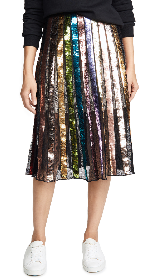 e122ac74c9 Alice And Olivia Tianna High-Rise Sequin Lace Midi Skirt In Black/Multi