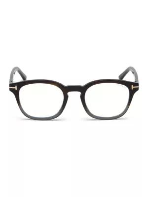 Tom Ford 49mm Blue Block Gradient Soft Square Eyeglasses In Shiny Havana Grey