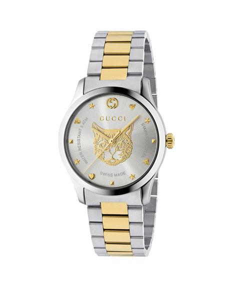 Gucci Men's Feline Head Yellow Gold Pvd-Trim Bracelet Watch In Silver/ Gold