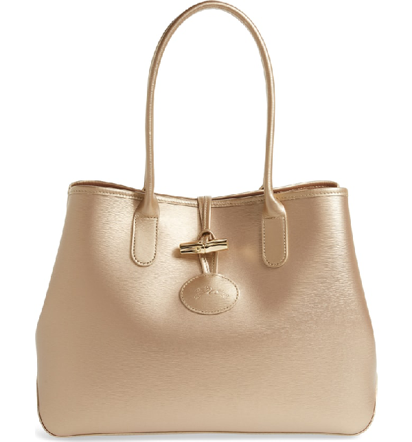 Roseau Metallic Leather Shoulder Tote - Pink In Pink Gold