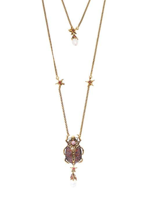 1c9a87892 ALEXANDER MCQUEEN. Alexander Mcqueen - Scarab Faux Pearl And Crystal  Embellished Necklace - Womens ...