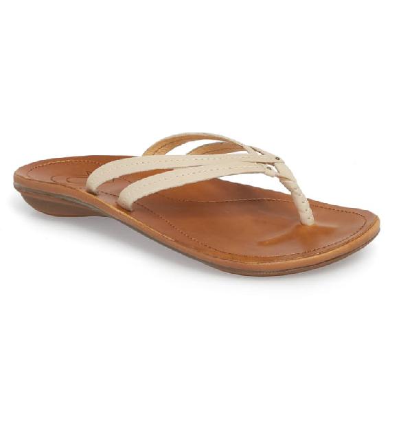 Olukai 'U'I' Thong Sandal In Tapa/ Sahara Leather