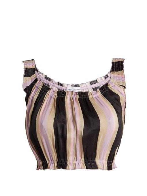 Apiece Apart Shina Striped Linen And Silk-Blend Cropped Top In Multicoloured