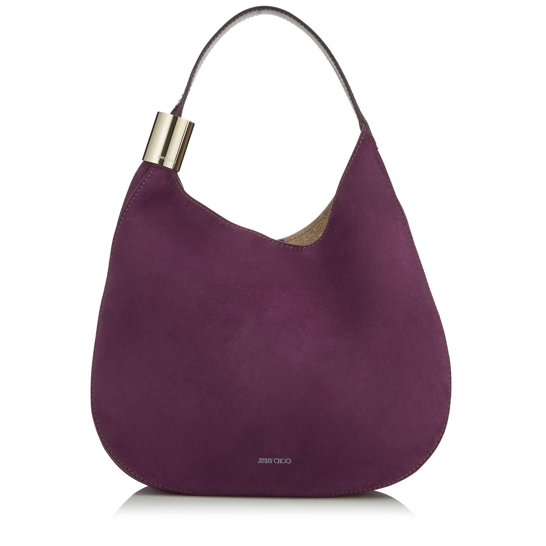 1c2b7647afa3 Jimmy Choo Stevie Grape Suede And Elaphe Shoulder Bag In Pink   Purple