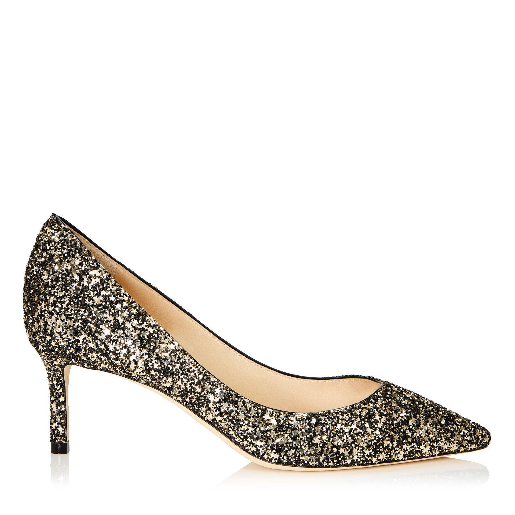 f3ee3275179fc4 Jimmy Choo Romy 60 Gold Mix Star Coarse Glitter Fabric Pointy Toe Pumps