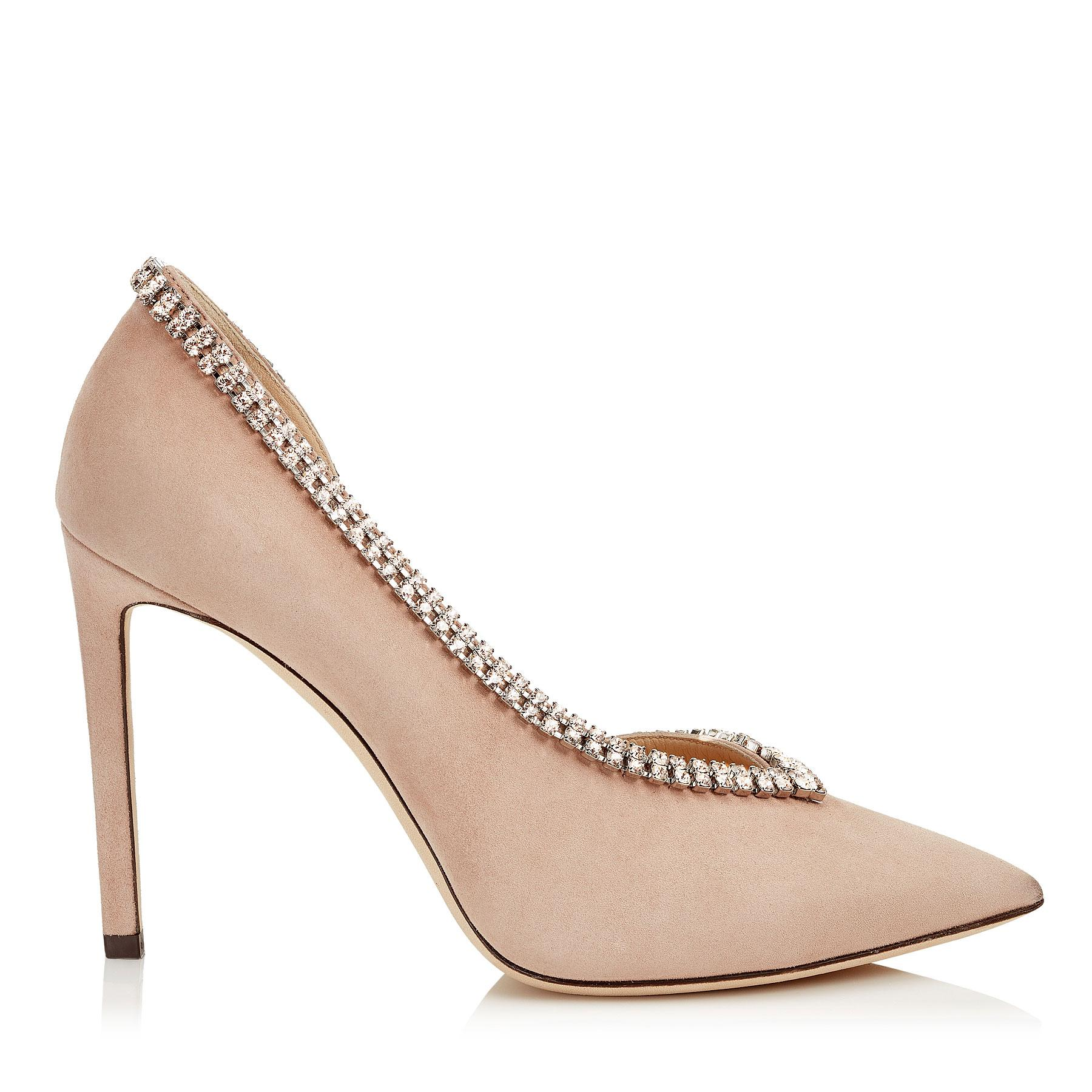 68f266f89462 Jimmy Choo Lilian 100 Ballet Pink Suede Pointy Toe Pumps With Crystal Trim  In Pink