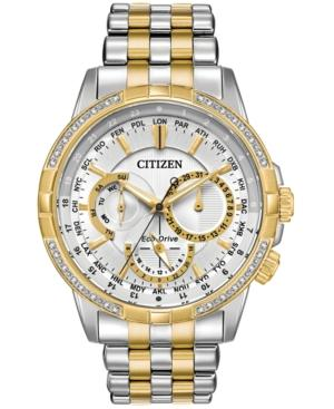 Citizen Eco-Drive Men's Calendrier Diamond-Accent Two-Tone Stainless Steel Bracelet Watch 44Mm In Two Tone