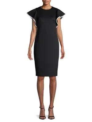 Calvin Klein Cap-Sleeve Sheath Dress In Black White