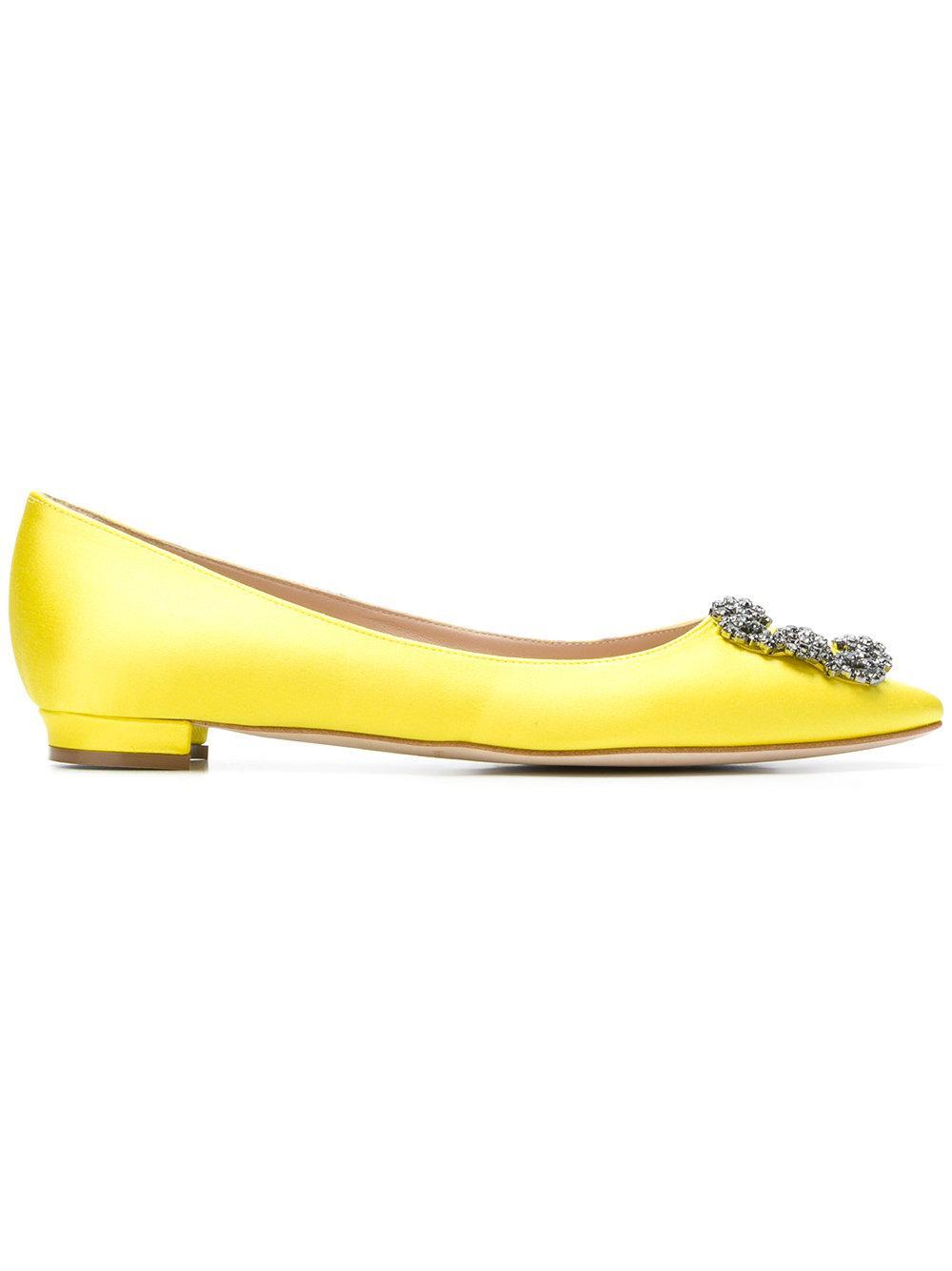 Manolo Blahnik Hangisi Crystal-Buckle Satin Flats In Yellow