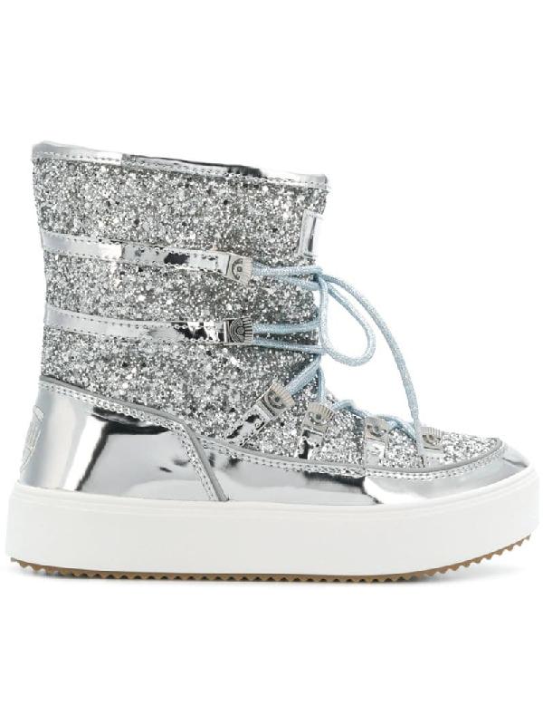 Chiara Ferragni Glittery Coated Laced-up Metallic Boots