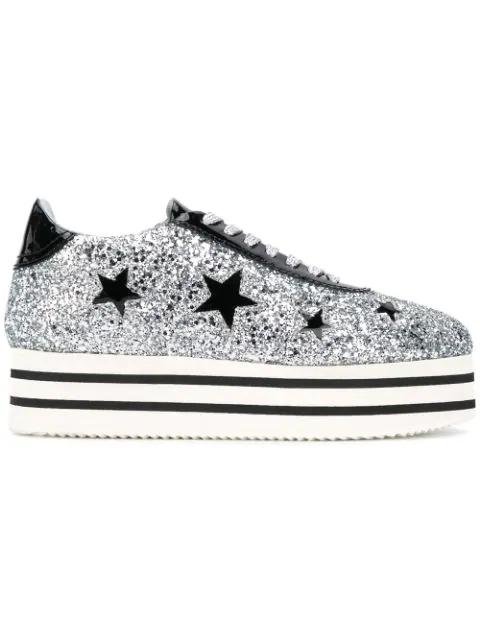 Chiara Ferragni Suite Platform Sneakers With Stars In Silver Black