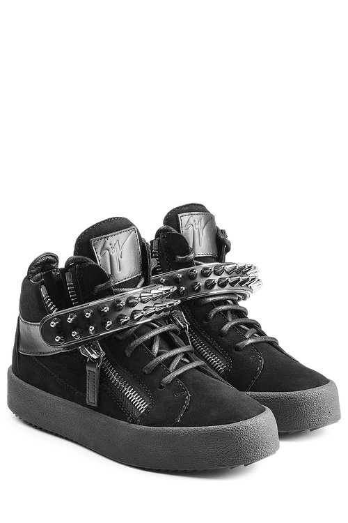 Giuseppe Zanotti Suede Sneakers With Stud Embellishment In Black