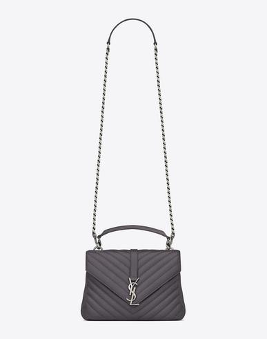 Saint Laurent Medium CollÈge Bag In Dark Anthracite MatelassÉ Leather