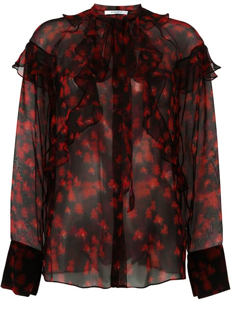 Givenchy Printed Silk Blouse In Black
