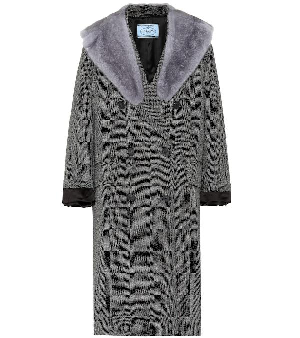 Prada Mink-Fur-Collar Herringbone Virgin Wool Coat - Gray