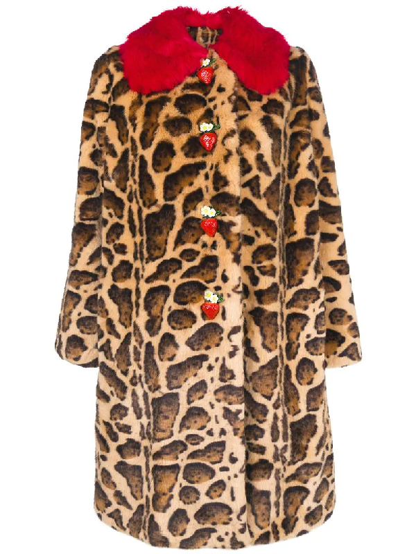 8476b05149d Dolce & Gabbana Strawberry-Buttons Leopard-Print Faux-Fur Mid-Calf Coat