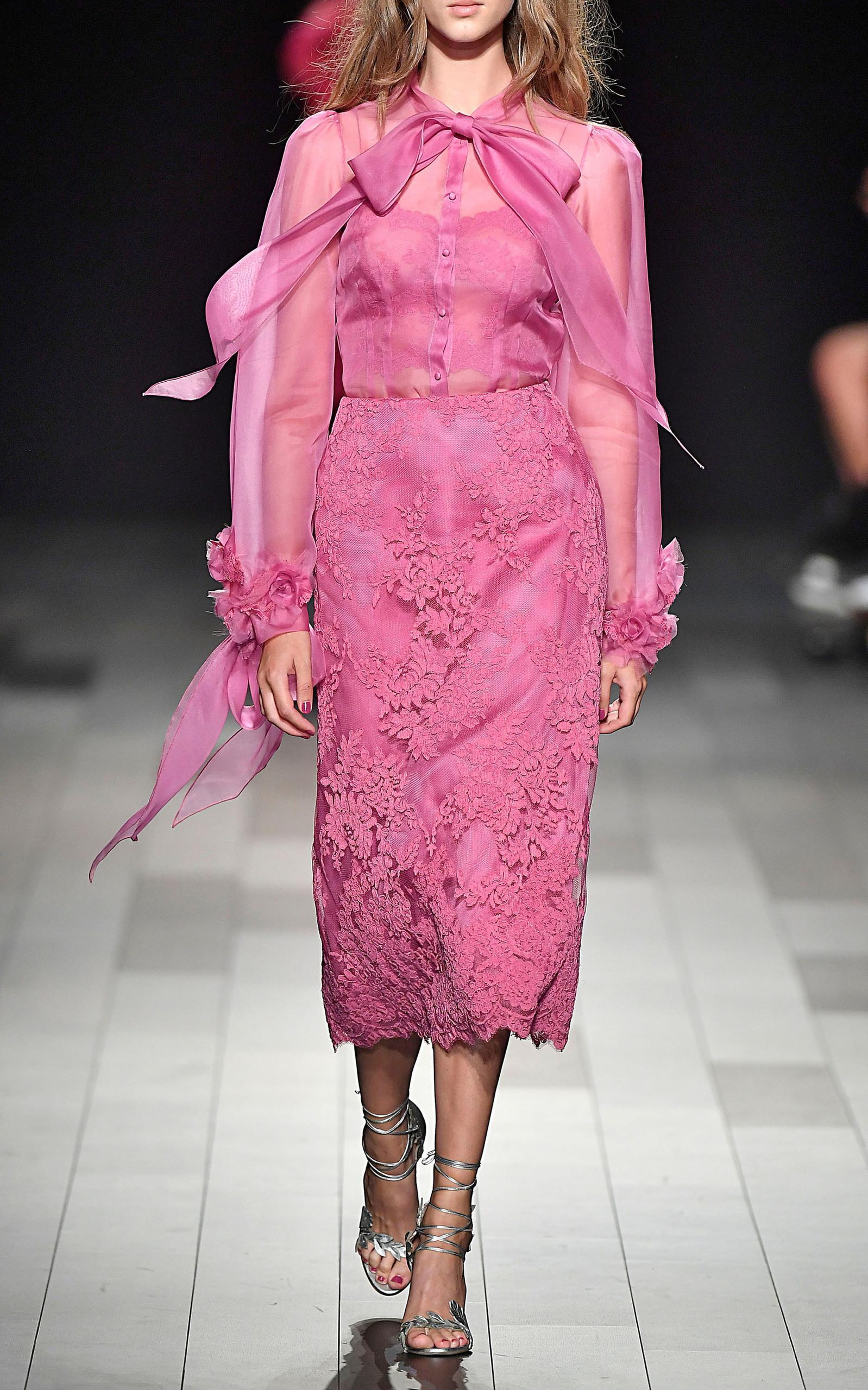 ec2bf03c8ecfd Marchesa Silk Organza Blouse In Pink
