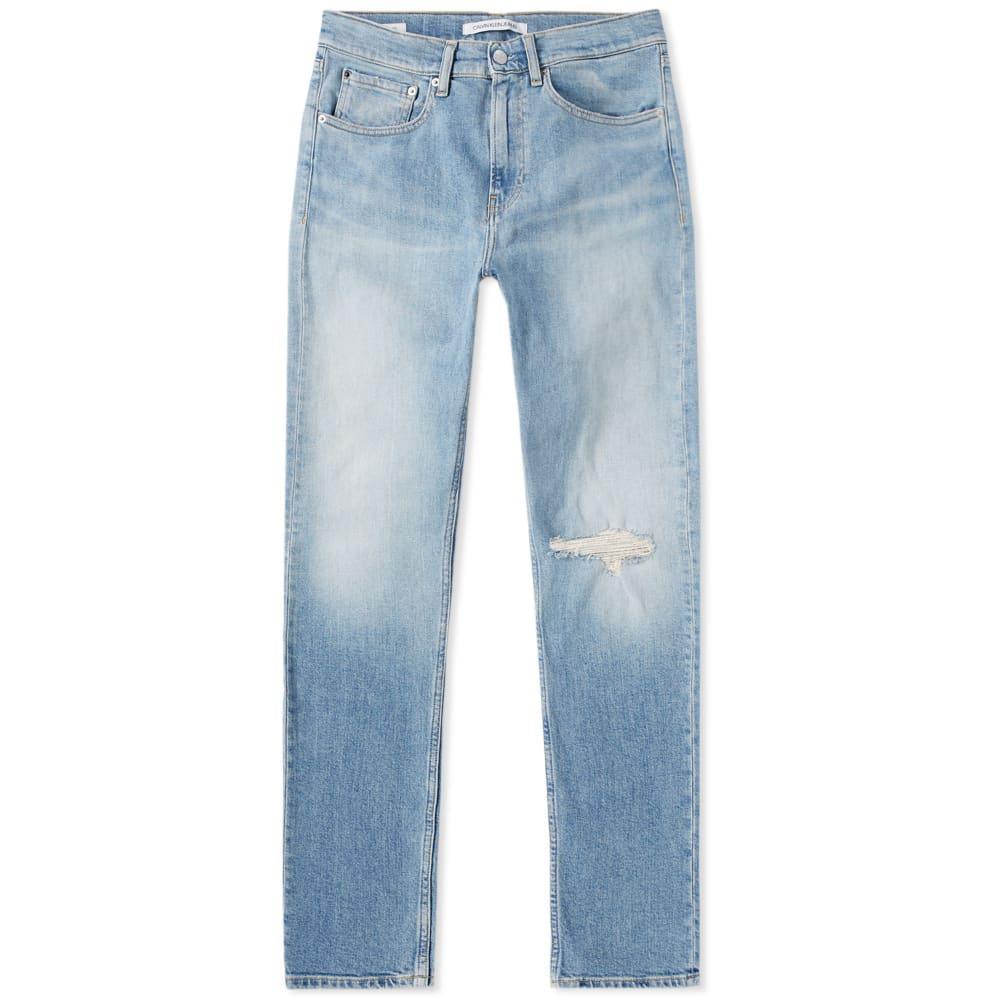 a63f2b5c343 CALVIN KLEIN. Calvin Klein Ckj 016 Skinny West Distressed Jean in Blue