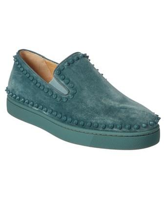 check out d544c 4f1ed Christian Louboutin Pik Boat Suede Slip On Sneaker in Green