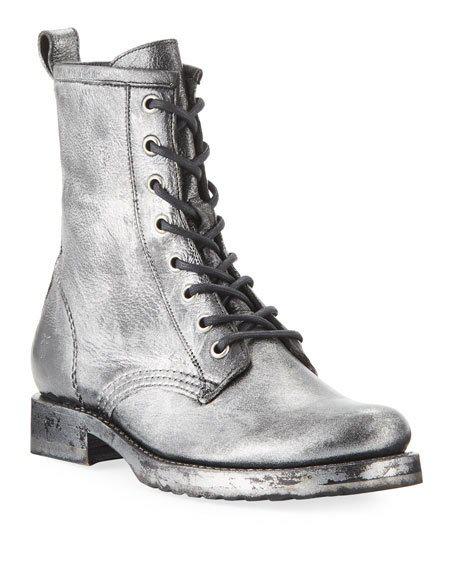 8c72ce4031e Women's Veronica Metallic Leather Combat Boots in Black Multi