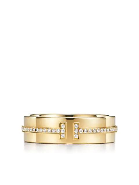 48ff131fb Tiffany & Co 18Kt Yellow Gold Tiffany T Two Diamond Narrow Ring - Farfetch  In Metallic