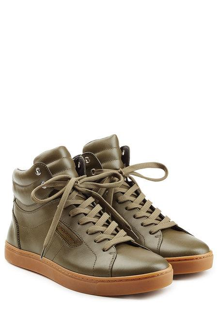 Dolce & Gabbana Leather High-top Sneakers In Green
