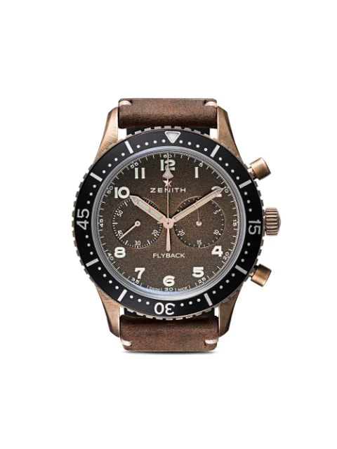 Zenith 29.2240.405/18.c801 Pilot Cronometro Tipo Cp-2 Flyback Bronze And Leather Watch In C801 Bronze B Brown Oily
