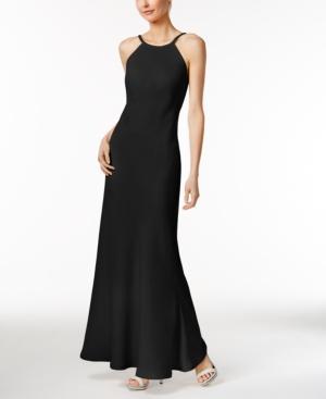 Calvin Klein Beaded-neck Halter Gown In Black