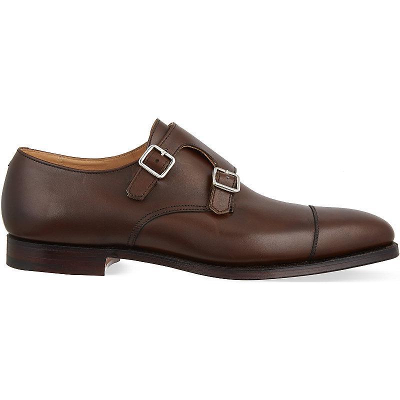 Crockett & Jones Lowndes Leather Double Monk Shoes In Brown