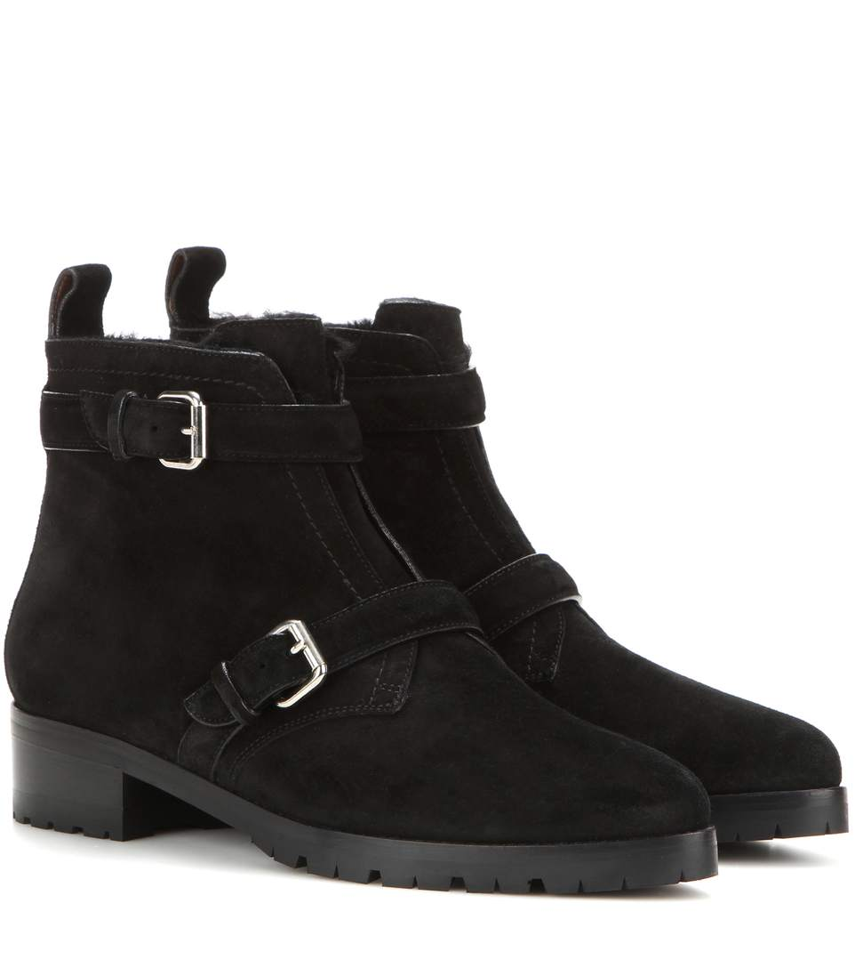 Tabitha Simmons Aggy Shearling-lined Suede Ankle Boots In Llack Splitsuede