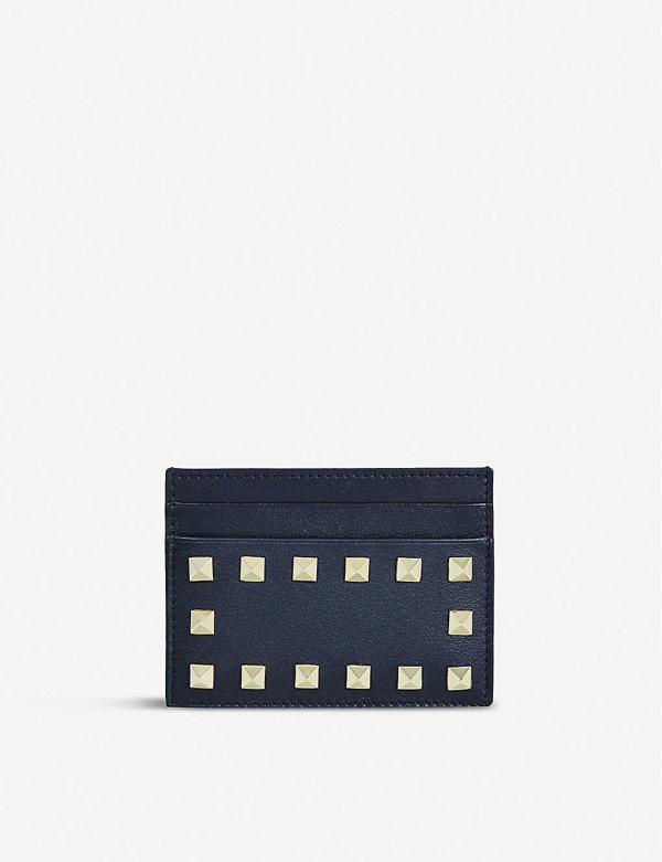 Valentino Garavani Rockstud Studded Leather Card Holder In Black