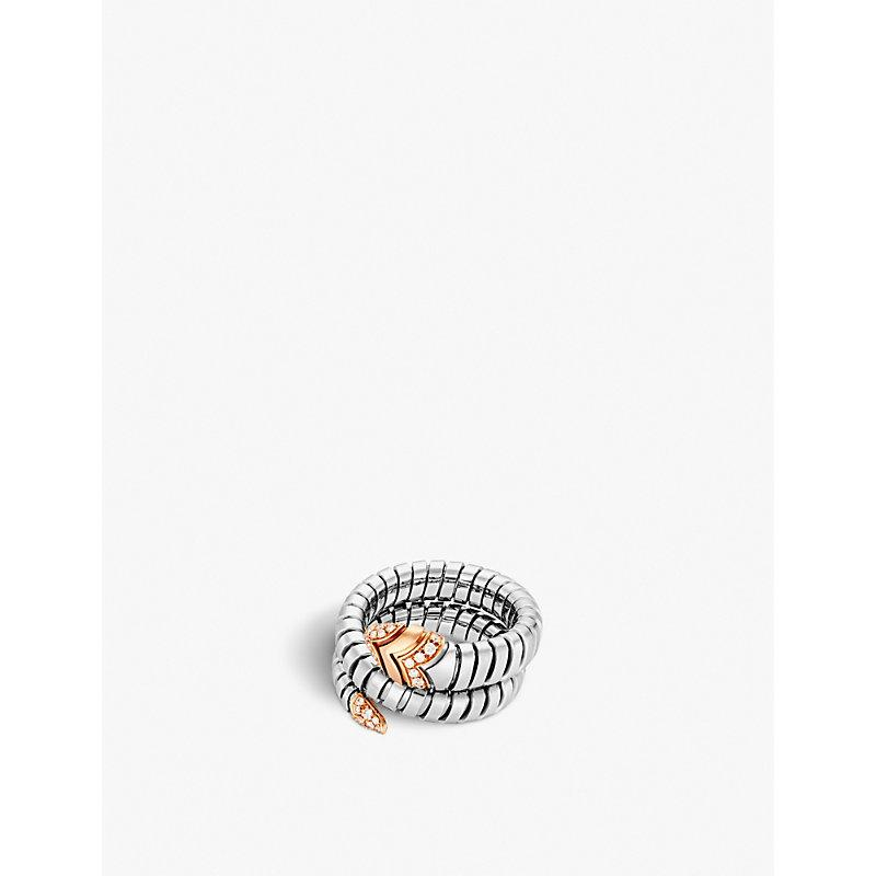Bvlgari Serpenti Tubogas 18kt Pink-gold, Diamond And Stainless Steel Ring