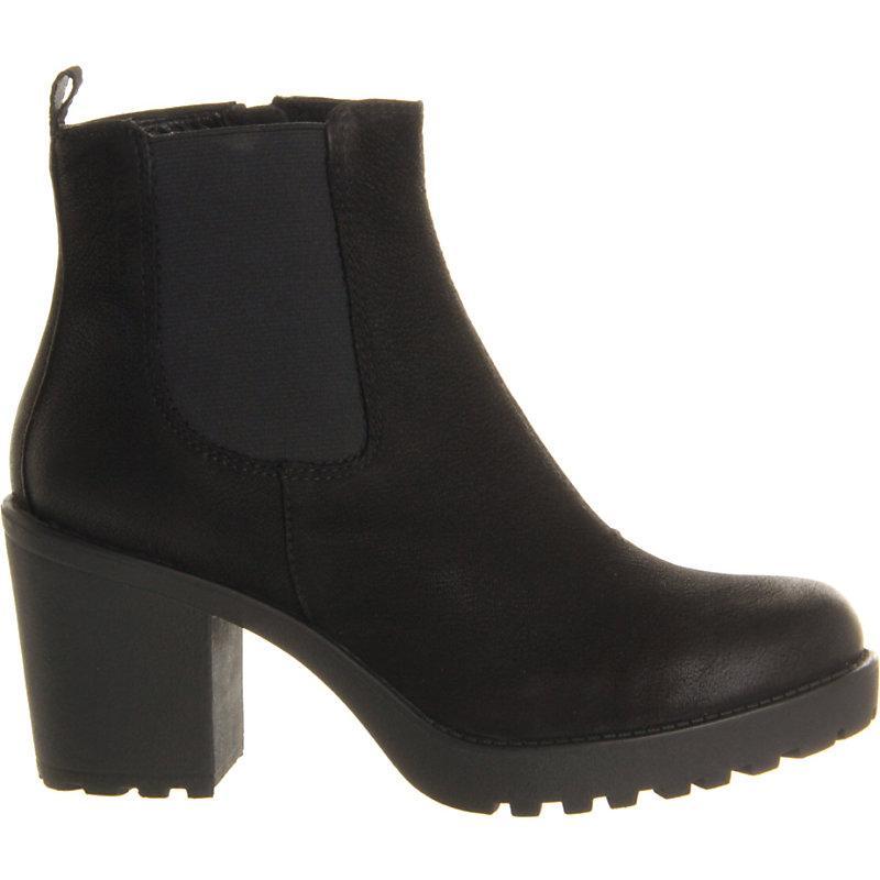 Vagabond Grace Heeled Leather Chelsea Boot In Black Nubuck