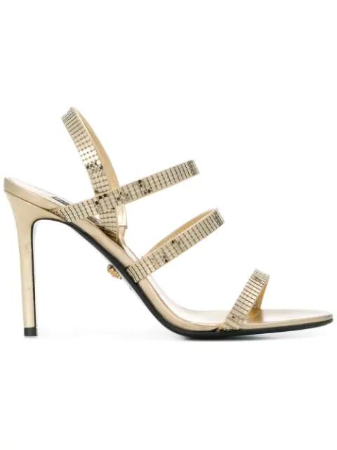 Versace Strappy Mesh Sandals - Metallic