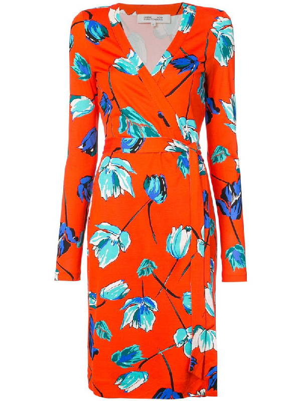38f1a746f44ea Diane Von Furstenberg Shirred Floral-Print V-Neck Dress In Red ...