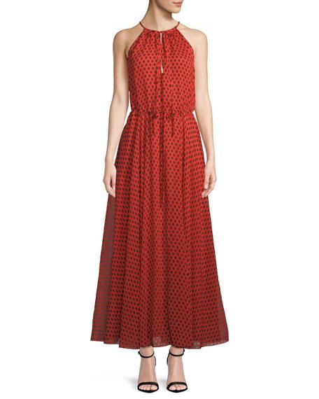 deaffba11d3 Diane Von Furstenberg Polka-Dot Crinkled Silk-Chiffon Maxi Dress In ...