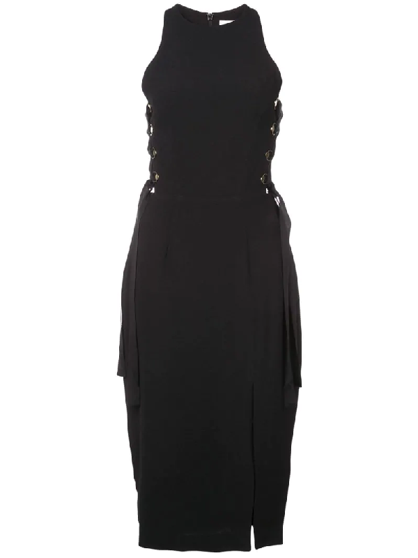 Zimmermann Laced In Sleeveless Split Midi Dress In Black