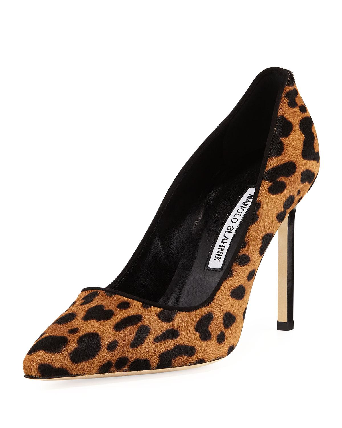 Manolo Blahnik Bb Calf Hair Fur 105Mm Pumps In Leopard