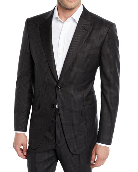 Tom Ford Men's O'Connor Check Stretch-Wool Two-Piece Suit In Dark Gray